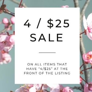 4 for $25 items will have $9.99 ship discount